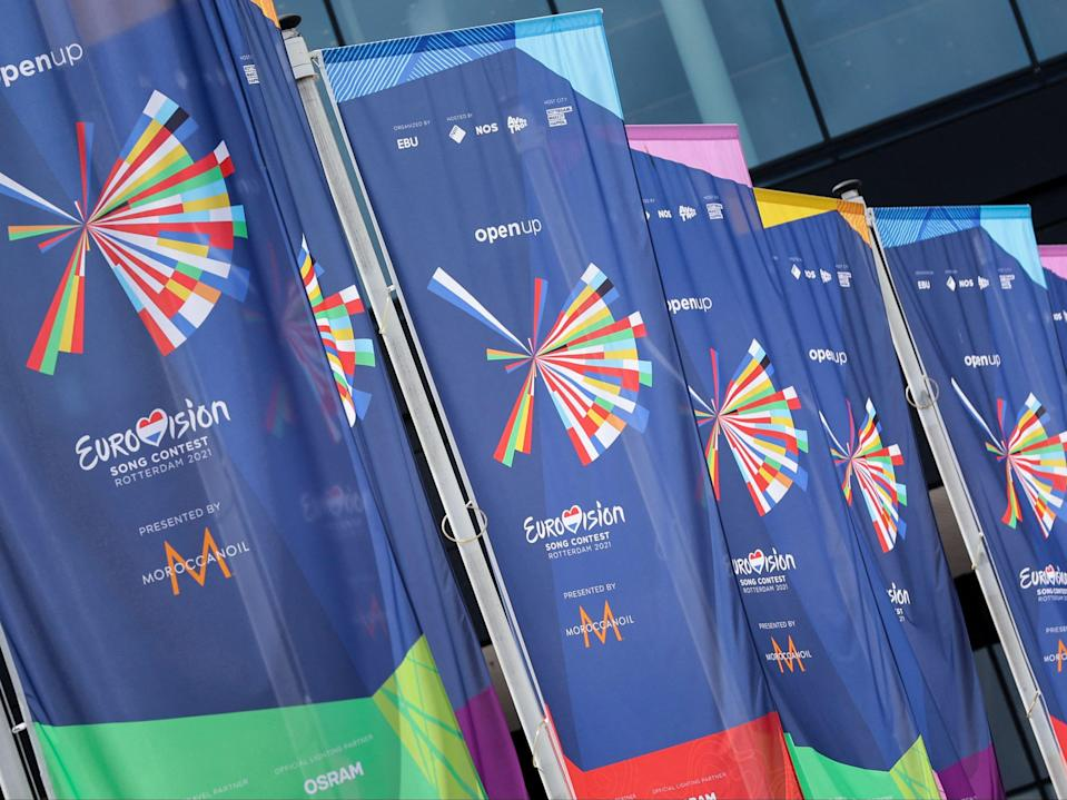 Flags at the entrance of the Rotterdam Ahoy convention centre ahead of the 65th edition of the Eurovision Song Contest on 12 May 2021 in Rotterdam (KENZO TRIBOUILLARD/AFP via Getty Images)