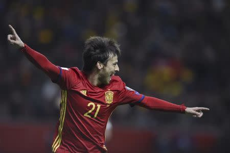 Football Soccer - Spain v Israel - 2018 World Cup Qualifying European Zone - Group G - El Molinon Stadium, Gijon, Spain, 24/3/17 Spain's David Silva celebrates after scoring first goal. REUTERS/Eloy Alonso