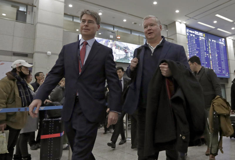 U.S. Special Representative for North Korea Stephen Biegun, right, arrives at Incheon International Airport in Incheon, South Korea, Sunday, Feb. 3, 2019. Biegun will meet with South Korea's Special Representative for Korean Peninsula Peace and Security Affairs Lee Do-hoon. (AP Photo/Lee Jin-man)