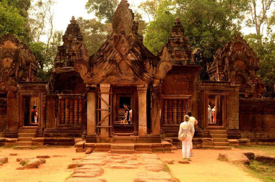 Banteay Srei is probably the smallest of the temples here and it is also one of the furthest from the Angkor complex. Carved in sandstone, this temple's name I am told literally means Citadel of Women in reference to its beauty. The journey will take you about an hour, but it is worth spending every minute here.