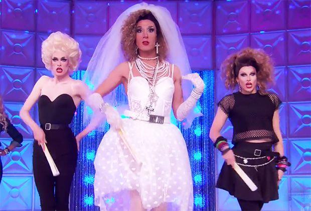 Gigi Goode, Jackie Cox, and Jan as different Madonnas on 'RuPaul's Drag Race.' (Photo: VH1)