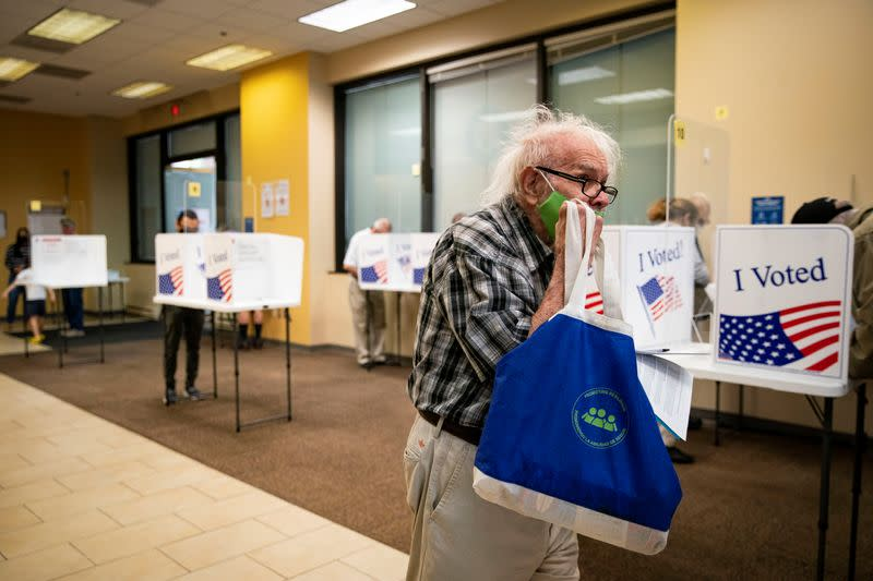 People vote at an early voting site in Arlington, Virginia