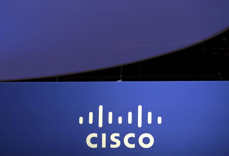 File photo of the Cisco Systems logo is seen as part of a display at the Microsoft Ignite technology conference in Chicago