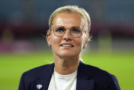 Netherlands' coach Sarina Wiegman watches her team prior to a women's soccer match against Brazil at the 2020 Summer Olympics, Saturday, July 24, 2021, in Miyagi, Japan. (AP Photo/Andre Penner)