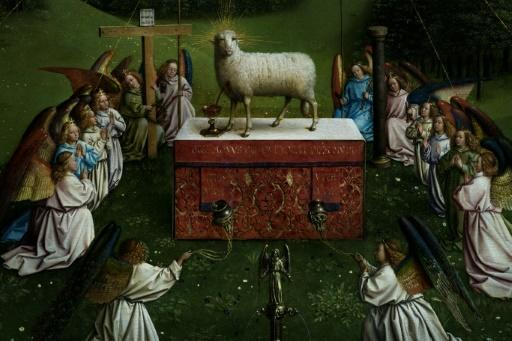 The central tableau of the 15th century Ghent Altarpiece has emerged refreshed from a three-year refurbishment