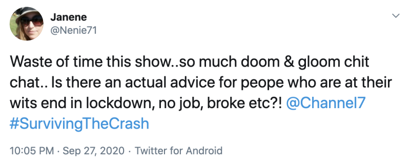 One user slammed the show for not giving any actual advice like they claimed they would. Photo: Twitter