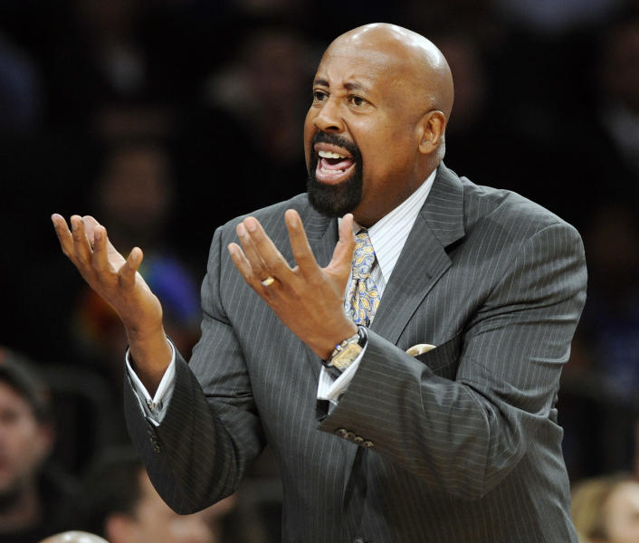 "FILE - In this Jan. 11, 2013 file photo, New York Knicks coach Mike Woodson reacts during the third quarter of an NBA basketball game against the Chicago Bulls at Madison Square Garden in New York. The Knicks have fired Woodson after falling from division champions to out of the playoffs in one season. New team president Phil Jackson made the decision Monday, April 21, 2014, saying in a statement ""the time has come for change throughout the franchise."" (AP Photo/Bill Kostroun, File)"
