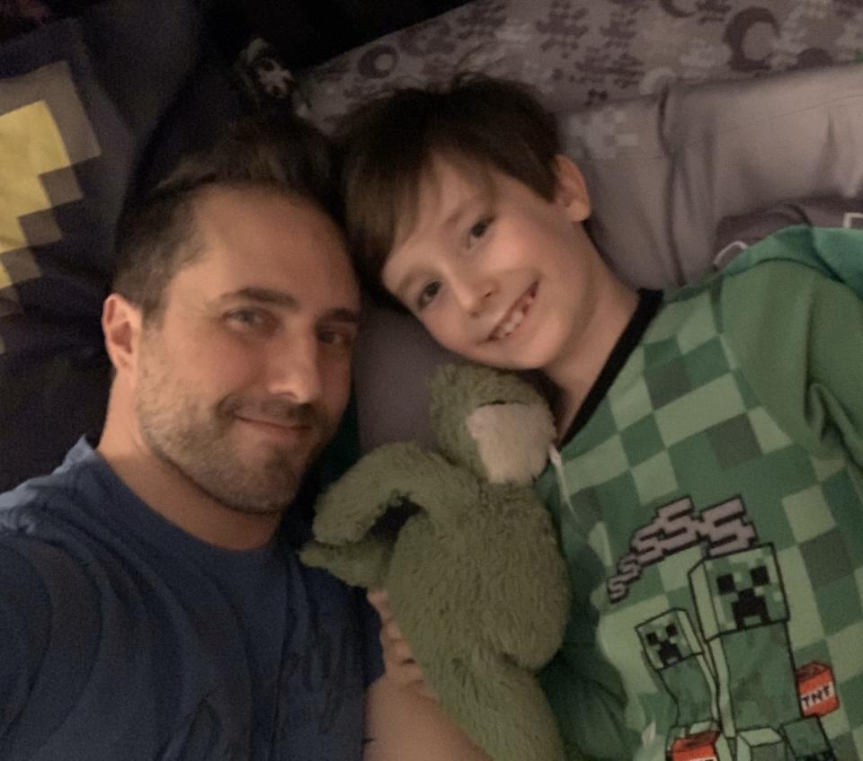 Jonathan is spending more time with his son while home schooling, cooking together and watching movies. (Photo: Courtesy of Jonathan)