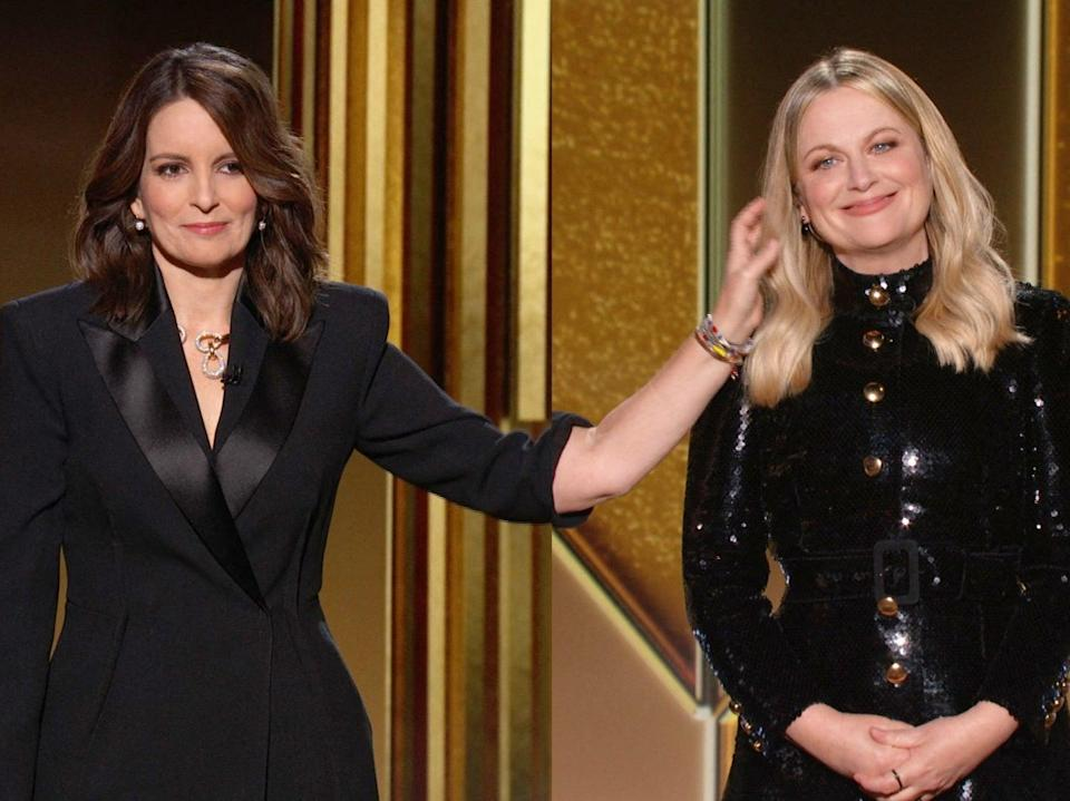 A human touch: Tina Fey and Amy Poehler digitally co-hosting the Golden Globes last night (NBCUniversal/AFP via Getty Image)