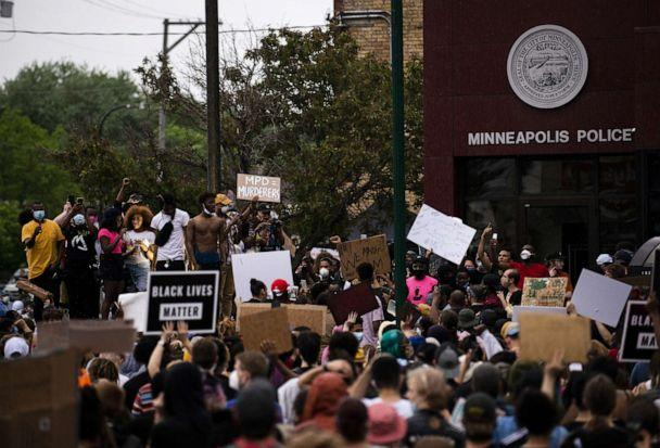 PHOTO: Protesters demonstrate against the death of George Floyd outside the 3rd Precinct Police Precinct, May 26, 2020, in Minneapolis, Minnesota. (Stephen Maturen/Getty Images)