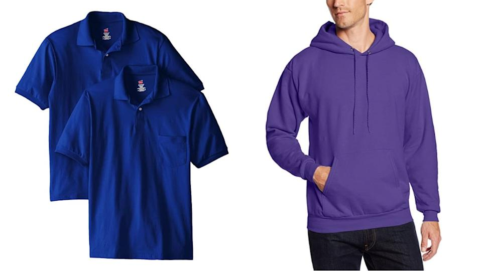 """<a href=""""https://amzn.to/2Q93TTF"""" target=""""_blank"""" rel=""""noopener noreferrer"""">Hanes</a> specializes in men's everyday basics like T-shirts, underwear and sweatsuits. They offer sizes S to 4X, as well as tall and extended sizes. <br /><br />Shop this <a href=""""https://amzn.to/3iYIaKB"""" target=""""_blank"""" rel=""""noopener noreferrer"""">Hanes short-sleeved jersey pocket polo</a> (left) and this <a href=""""https://amzn.to/31eeTFD"""" target=""""_blank"""" rel=""""noopener noreferrer"""">Hanes pullover fleece hoodie</a>(right) on Amazon.<br /><br /><a href=""""https://amzn.to/2Q93TTF"""" target=""""_blank"""" rel=""""noopener noreferrer"""">Shop more from Hanes on Amazon</a>."""