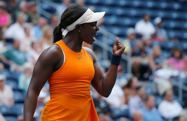 Defending champion Sloane Stephens reacts during a victory over  Evgeniya Rodina at the US Open on Monday