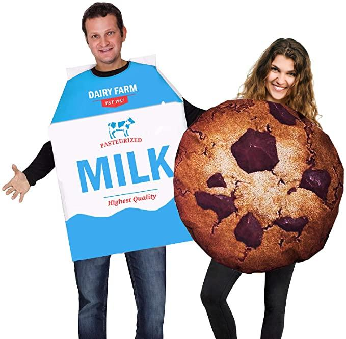 Man and woman wear Cookie and Milk Costume.