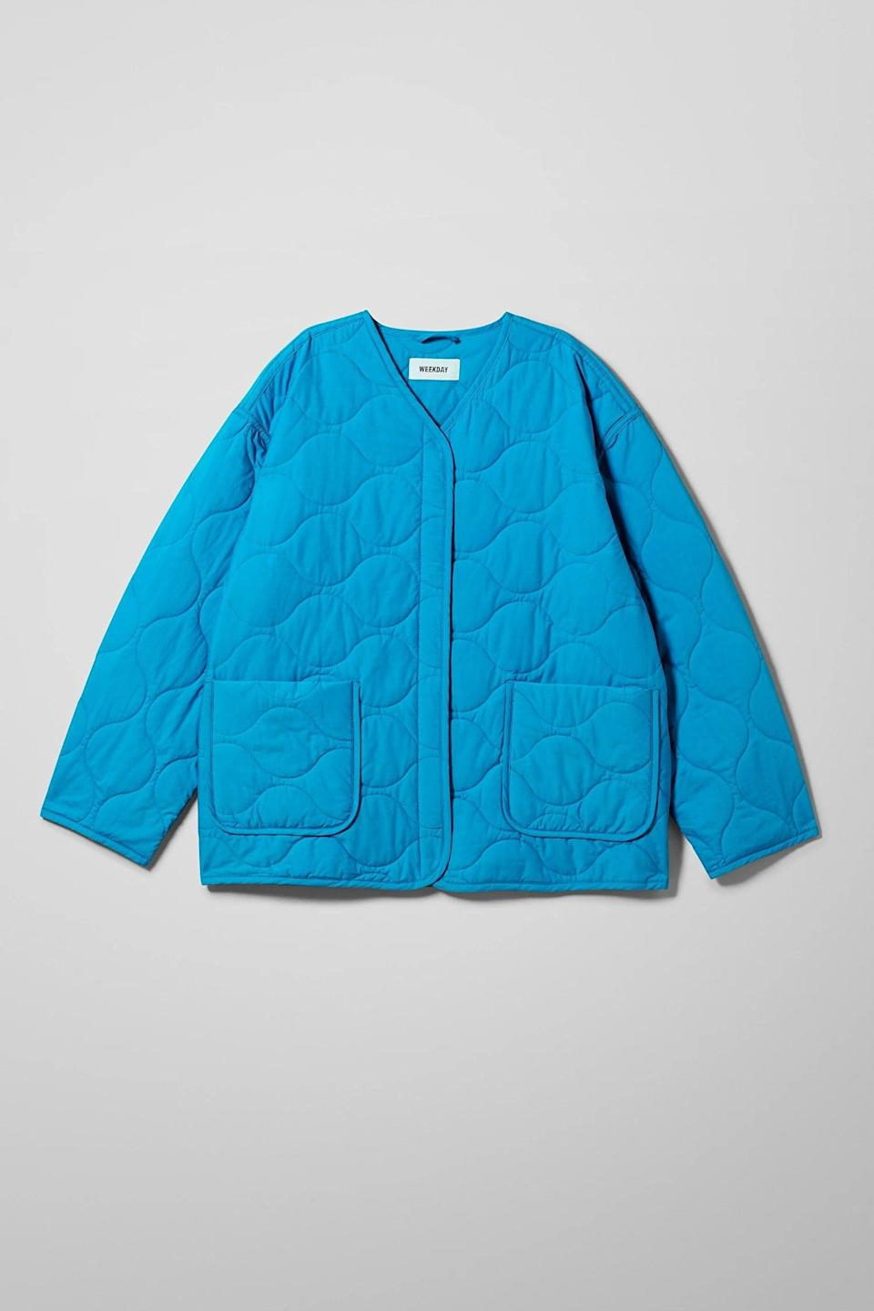 """<br><br><strong>Weekday</strong> Nova Quilted Jacket, $, available at <a href=""""https://www.weekday.com/en_gbp/women/jackets-coats/product.nova-quilted-jacket-blue.0857736002.html"""" rel=""""nofollow noopener"""" target=""""_blank"""" data-ylk=""""slk:Weekday"""" class=""""link rapid-noclick-resp"""">Weekday</a>"""