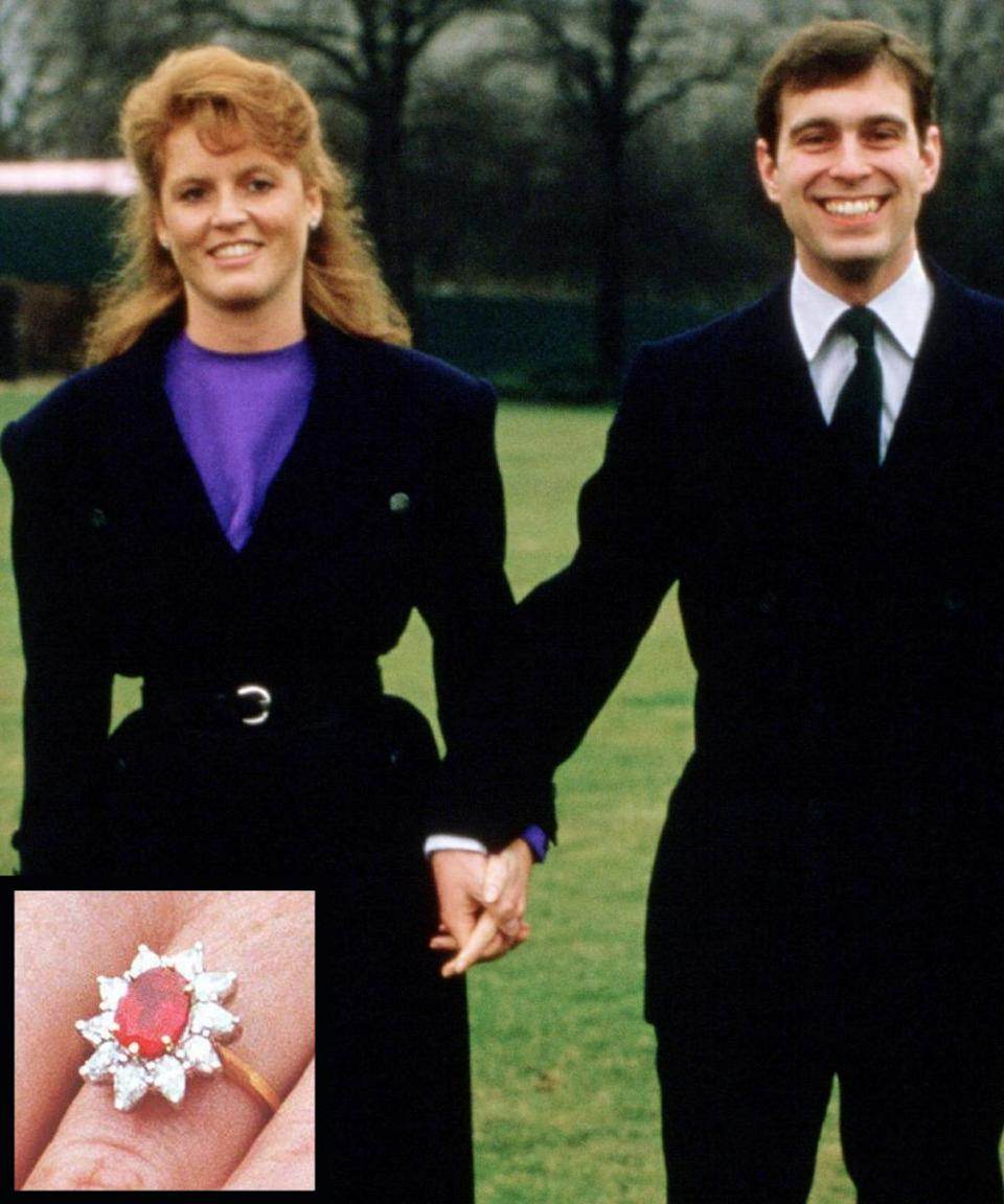 <p>Prince Andrew proposed to Sarah Ferguson in 1986 with an 18-carat ruby and diamond ring to match his future wife's fiery red hair. The couple divorced in 1996.</p>