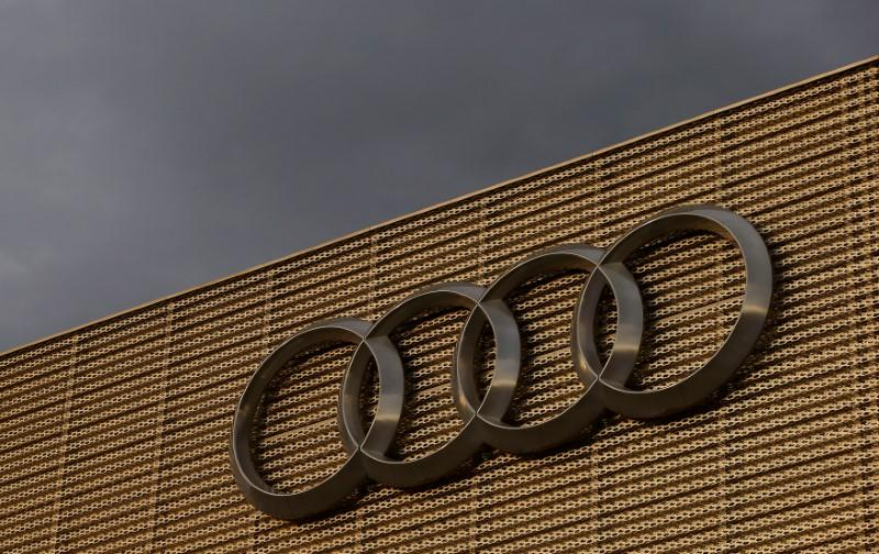 Logo Of German Car Manufacturer Audi Is Seen At A Building Dealer In