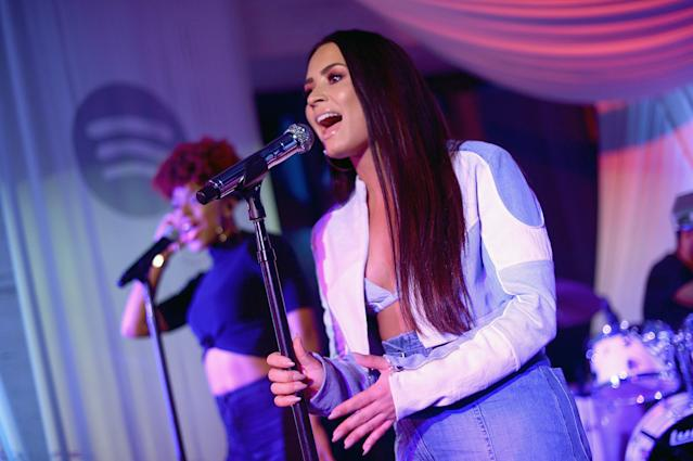 Demi Lovato singing at a private event in Los Angeles. (Photo by Charley Gallay/Getty Images for Spotify)