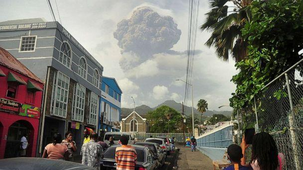 PHOTO:Ash and smoke billow as the La Soufriere volcano erupts in Kingstown on the eastern Caribbean island of St. Vincent, April 9, 2021.   (Robertson S. Henry/Reuters)