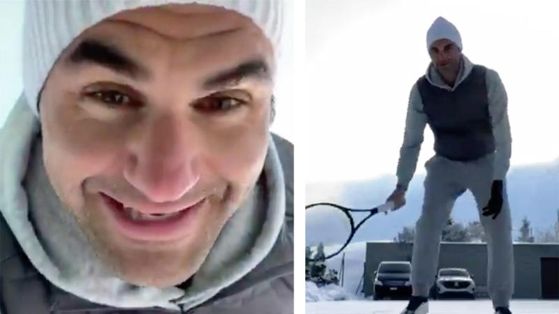 Roger Federer smiles and hits a tennis ball against the concrete wall in a video.