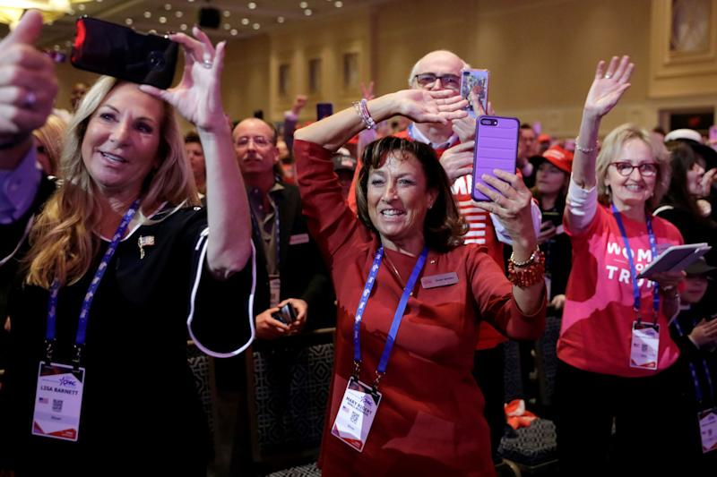 People cheer as President Donald Trump (not pictured) speaks at the Conservative Political Action Conference (CPAC) annual meeting at National Harbor near Washington, March 2, 2019. (Photo: Yuri Gripas/Reuters)