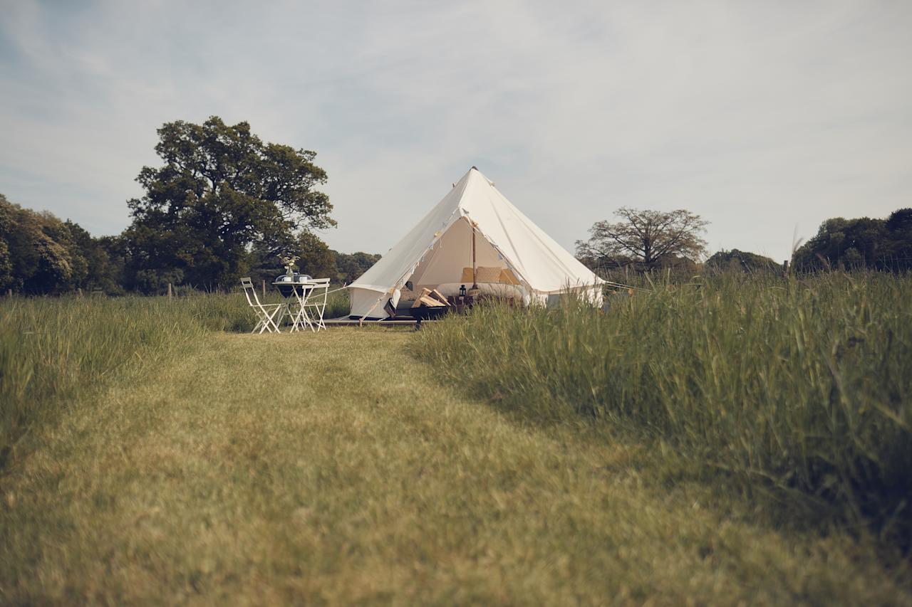 "London-dwellers can still get their glamp on without having to travel too far. <a href=""http://www.homefarmglamping.com/"">Home Farm Glamping</a> is the nearest glamping site to central London, and easily accessed via public transport. They have a variety of yurts and bell tents, which all sit on a wooden decking platform with their own campfire and barbecue. Spend your days at nearby child-friendly attractions such as Harry Potter World and Aldenham Country Park. Prices from £40pp based on two sharing, £33pp based on three sharing and £30pp based on four sharing. <em>[Photo: Home Farm Glamping]</em>"