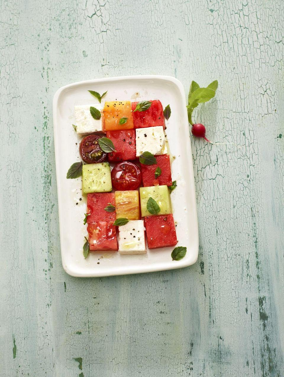 """<p>Bring some art to your backyard BBQ with this almost too-pretty-to-eat salad.</p><p><em><a href=""""https://www.goodhousekeeping.com/food-recipes/easy/a22577331/melon-mosaic-recipe/"""" rel=""""nofollow noopener"""" target=""""_blank"""" data-ylk=""""slk:Get the recipe for Melon Mosaic »"""" class=""""link rapid-noclick-resp"""">Get the recipe for Melon Mosaic »</a></em></p>"""