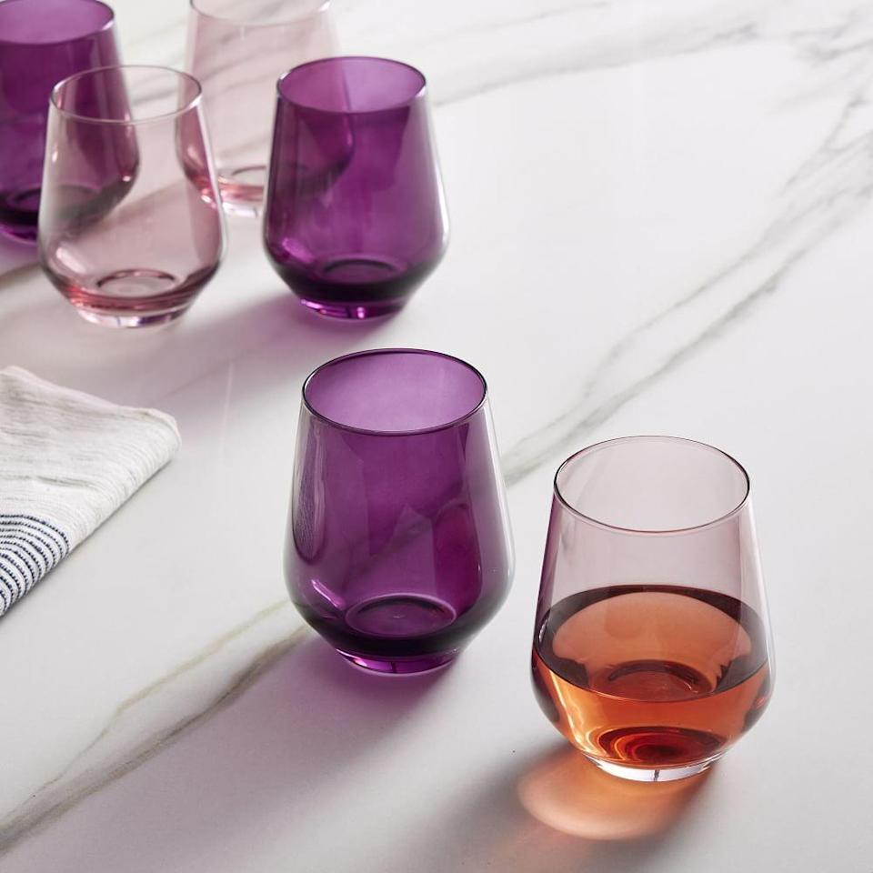 """<p>""""I'm going through a serious dinnerware obsession phase, and the <span>Estelle Colored Glass Stemless Wine Glasses</span> ($160) are at the top of my wish list. They come in so many fun colors, it's honestly hard to even decide on just one."""" - KJ</p>"""
