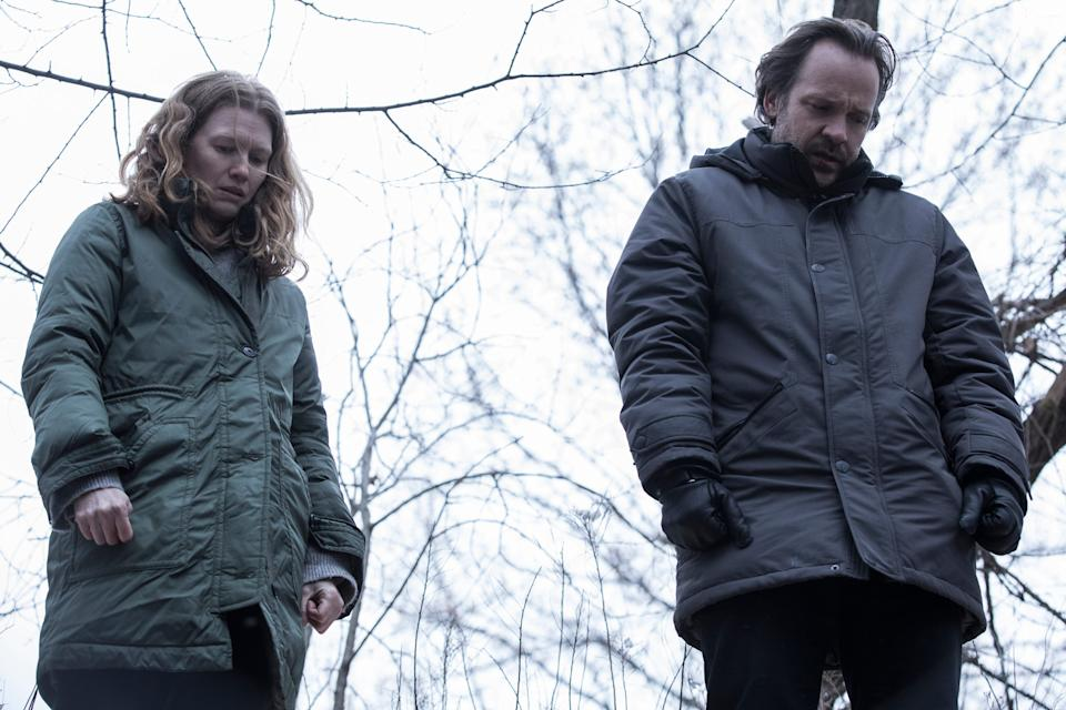 """Mireille Enos and Peter Sarsgaard play parents who have to cover up their teen daughter murdering her best friend in the horror mystery """"The Lie."""""""