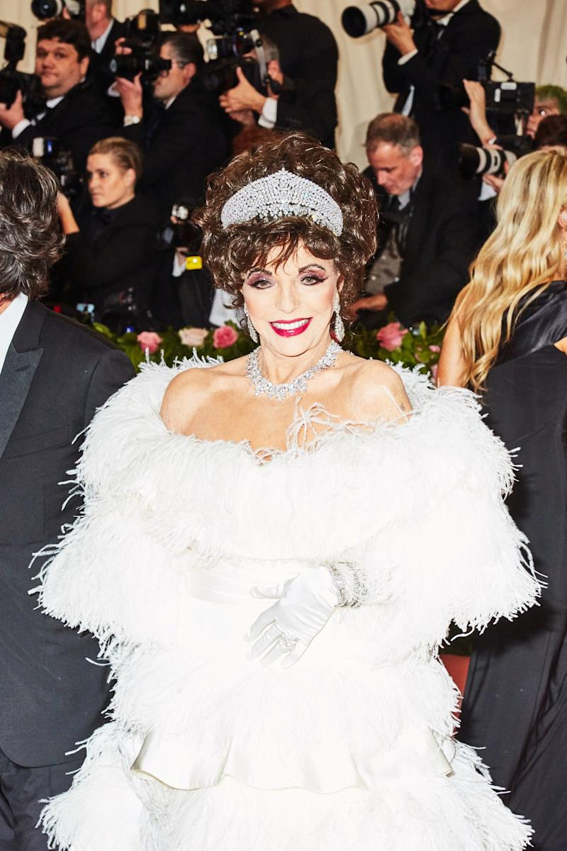Joan Collins on the red carpet at the Met Gala in New York City on Monday, May 6th, 2019. Photograph by Amy Lombard for W Magazine.
