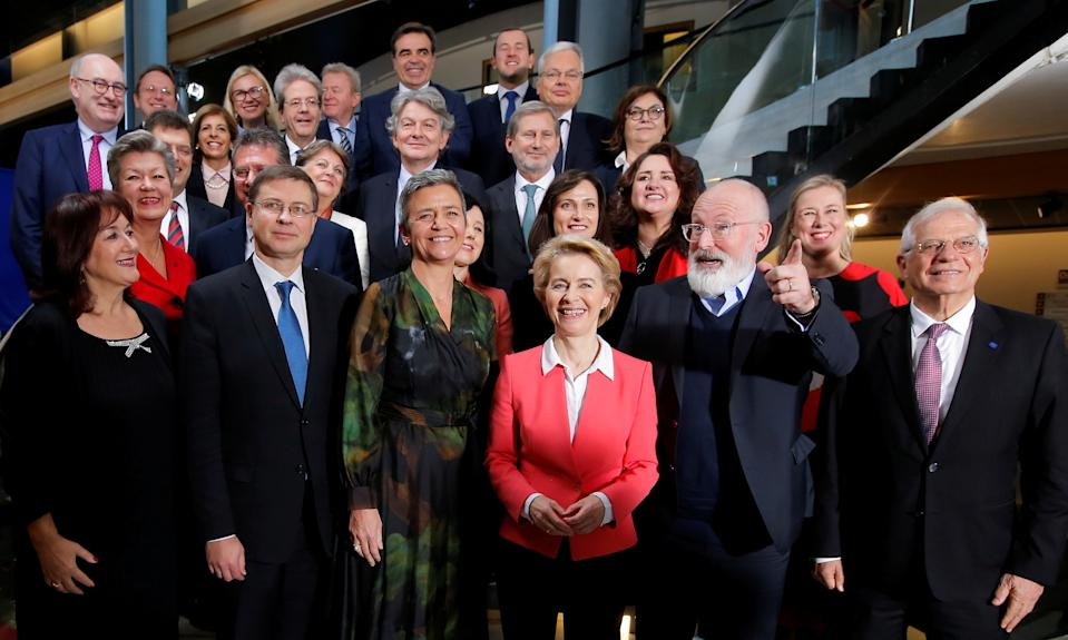 European Commission President Ursula von der Leyen poses with new members of EU Commission after the vote of Members of the EU Parliament on her college of commissioners, in Strasbourg, France, November 27, 2019. REUTERS/Vincent Kessler