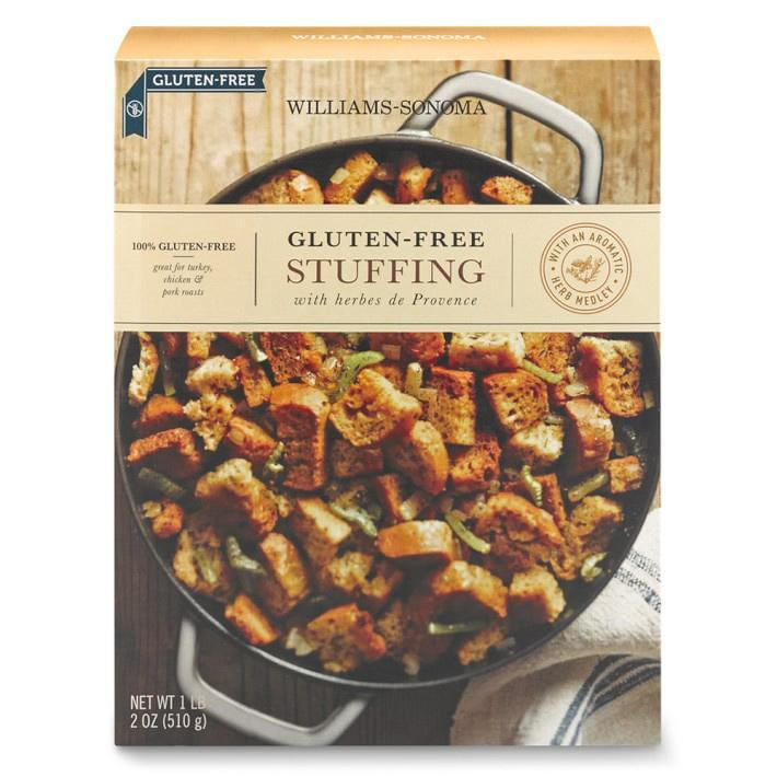 """<p>Made with bread sourced from a bakery that's been in the gluten-free baking game for more than 15 years, this stuffing from Williams-Sonoma comes heavily seasoned with herbes de Provence for an aromatic and delicious side dish.</p><p>Buy it <a rel=""""nofollow noopener"""" href=""""https://www.williams-sonoma.com/products/mariposa-baking-co-gluten-free-stuffing/"""" target=""""_blank"""" data-ylk=""""slk:here"""" class=""""link rapid-noclick-resp"""">here</a> for $19.</p>"""