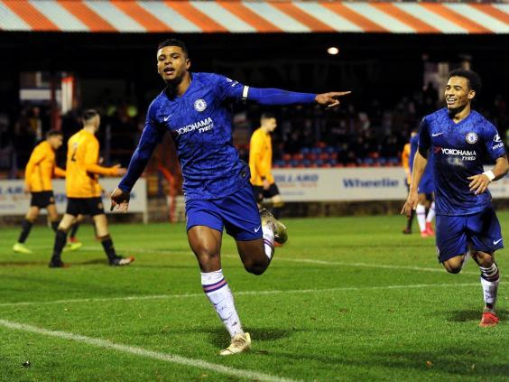 Tino Anjorin celebrates after scoring against Wolves in the FA Youth Cup (Getty)