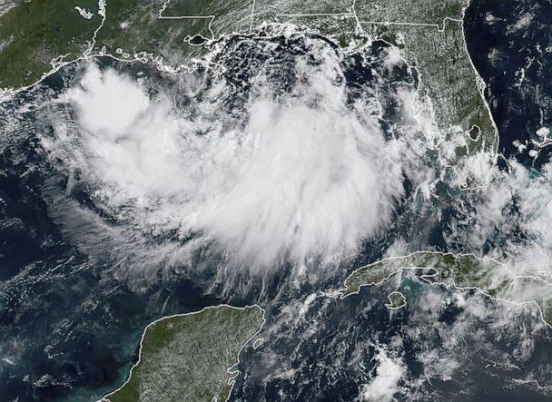 PHOTO: This satellite image obtained from NOAA/RAMMB, shows tropical storm Barry in the Gulf of Mexico, on July 11, 2019, at 11:40am local time. (NOAA via AFP/Getty Images)