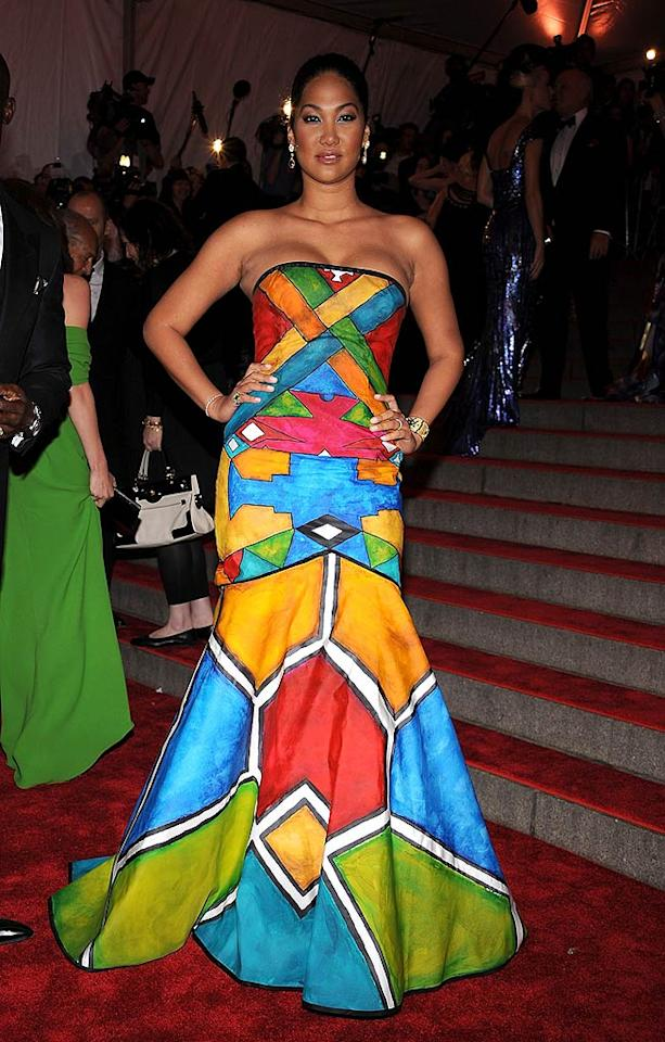 """Kimora Lee Simmons confused the crowd in this Rubik's cube-inspired fashion faux pas. Maybe she borrowed it from Carmen Miranda ... minus the fruit bowl. Dimitrios Kambouris/<a href=""""http://www.wireimage.com"""" target=""""new"""">WireImage.com</a> - May 5, 2008"""
