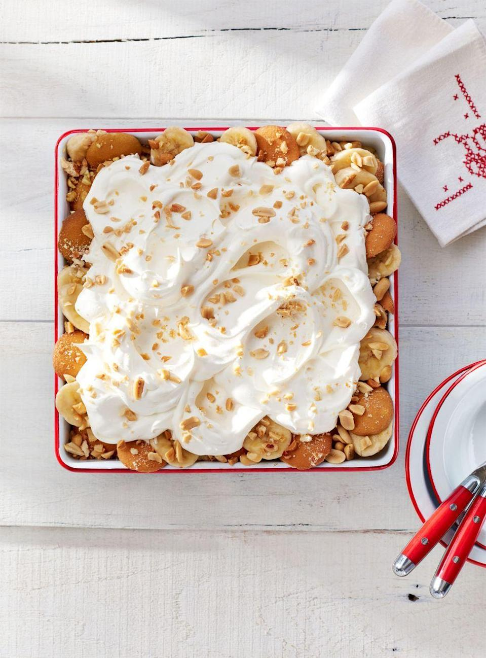 """<p>Everyone at the summer potluck will flip for this peanut butter pudding and wafer cookie dessert piled high with bananas and whipped cream.</p><p><em><a href=""""https://www.countryliving.com/food-drinks/recipes/a35607/salty-peanut-banana-pudding/"""" rel=""""nofollow noopener"""" target=""""_blank"""" data-ylk=""""slk:Get the recipe from Country Living »"""" class=""""link rapid-noclick-resp"""">Get the recipe from Country Living »</a></em></p><p><strong>RELATED: </strong><a href=""""https://www.goodhousekeeping.com/food-recipes/g32631508/easy-banana-recipes/"""" rel=""""nofollow noopener"""" target=""""_blank"""" data-ylk=""""slk:23 Easy Banana Recipes for Sweet Baked Goods and Fruity Treats"""" class=""""link rapid-noclick-resp"""">23 Easy Banana Recipes for Sweet Baked Goods and Fruity Treats</a></p>"""