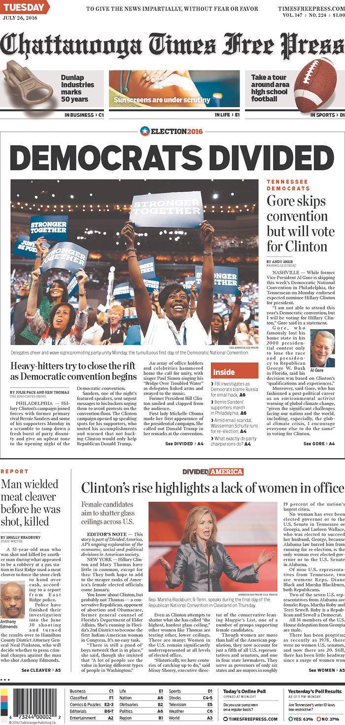 <p>Published in Chattanooga, Tenn. USA. (newseum.org)</p>