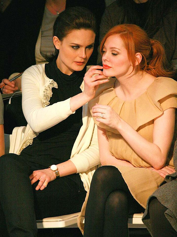 "Emily Deschanel (""Bones"") helps her buddy and ""Grindhouse"" goddess Rose McGowan attend to a makeup malfunction while at Ports 1961 fashion show. Tana Lee Alves/<a href=""http://www.wireimage.com"" target=""new"">WireImage.com</a> - February 4, 2008"