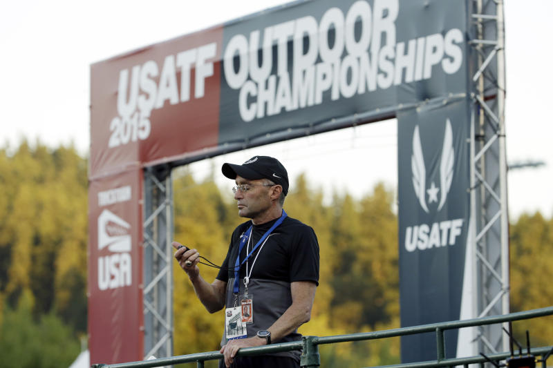 FILE - In this June 25, 2015, file photo, Alberto Salazar is shown during the 10,000 meter race at the U.S. Track and Field Championships in Eugene, Ore. Salazar was excited about a performance-enhancing supplement he was trying out on his runners. The supplement ended up triggering a drawn-out investigation that led to Salazar's four-year suspension from track and field. (AP Photo/Don Ryan, File)