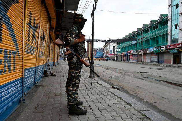 A security personnel in Srinagar on August 28, 2020.