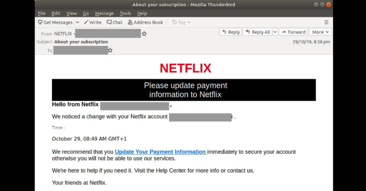New Netflix phishing scam. Source: MailGuard
