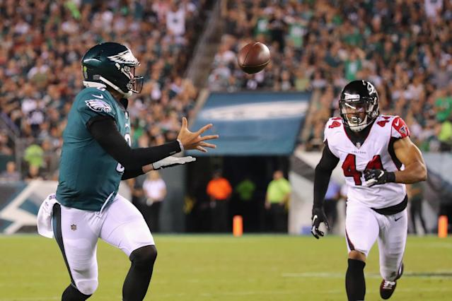 "Nick Foles hauls in a pass during a trick play the Eagles call ""Philly, Philly."" (Getty Images)"