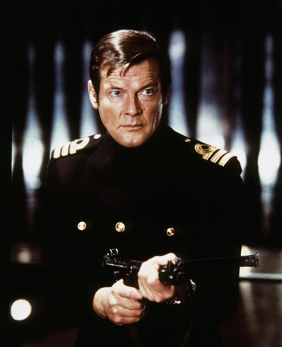 Actor Roger Moore on the set of