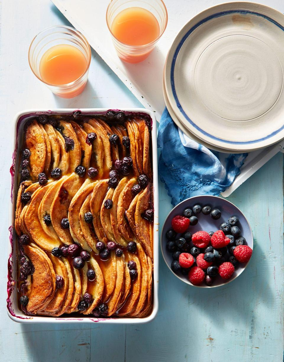 """<p><strong>Recipe: <a href=""""https://www.southernliving.com/recipes/blueberry-pancake-breakfast-casserole-recipe"""" rel=""""nofollow noopener"""" target=""""_blank"""" data-ylk=""""slk:Blueberry Pancake Breakfast Casserole"""" class=""""link rapid-noclick-resp"""">Blueberry Pancake Breakfast Casserole</a></strong></p> <p>If she has a favorite berry that's different than blueberries, you can easily swap them out to fit her taste.</p>"""