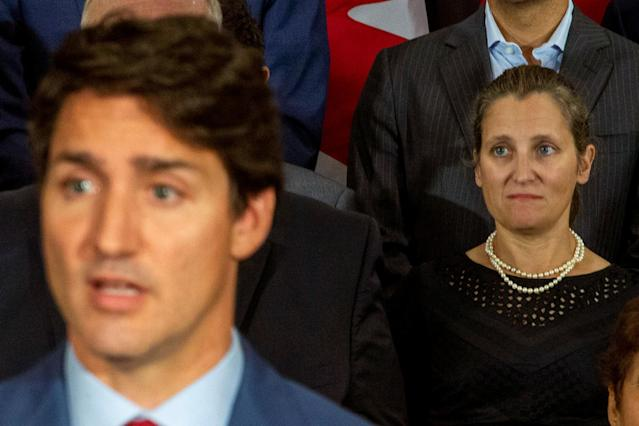 Canada's Foreign Minister Chrystia Freeland watches as PM Justin Trudeau speaks during an election campaign stop in Toronto, Ontario, September 20, 2019. REUTERS/Carlos Osorio