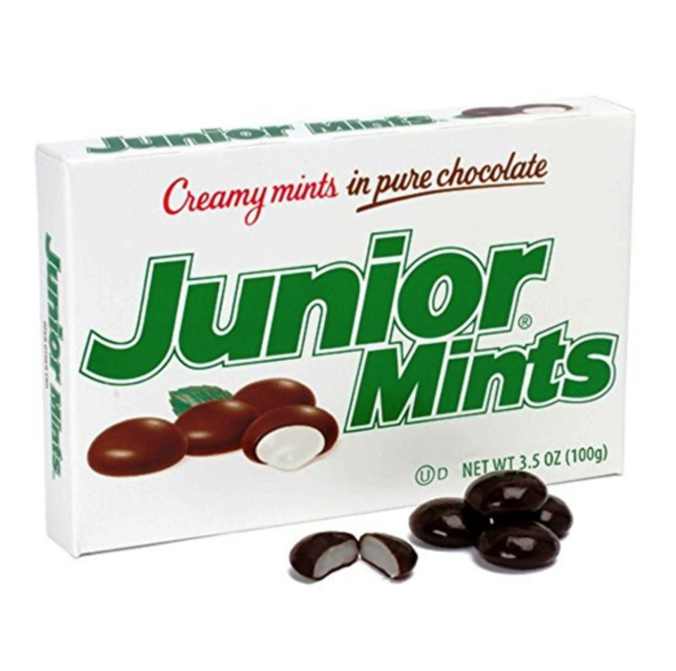 "<p>Junior Mints just scream old-fashioned movie candy. They were first released in 1949 and were <a href=""https://tootsie.com/candy/junior-mints/junior-mints"" rel=""nofollow noopener"" target=""_blank"" data-ylk=""slk:named after the Broadway show"" class=""link rapid-noclick-resp"">named after the Broadway show</a>, <em>Junior Miss</em>.  </p>"