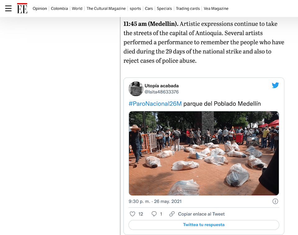 """<div class=""""paragraphs""""><p>The article published on 26 May carried a visual similar to the viral one mentioning that it's from Medellín, Colombia.</p></div>"""