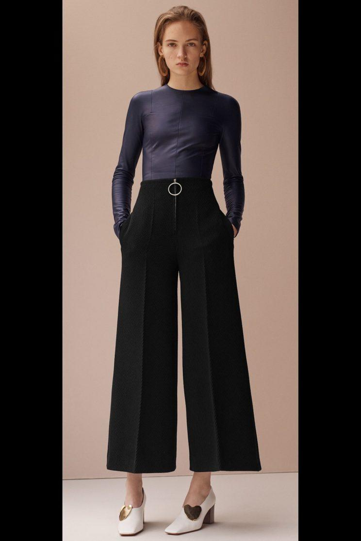 An O-ring zipper pull on culottes from French luxury house Céline