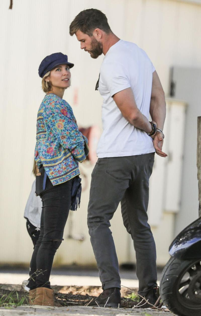 Chris and Elsa looking tense while taking their twins to the farm in Byron Bay, June, 2017. Source: Media-Mode