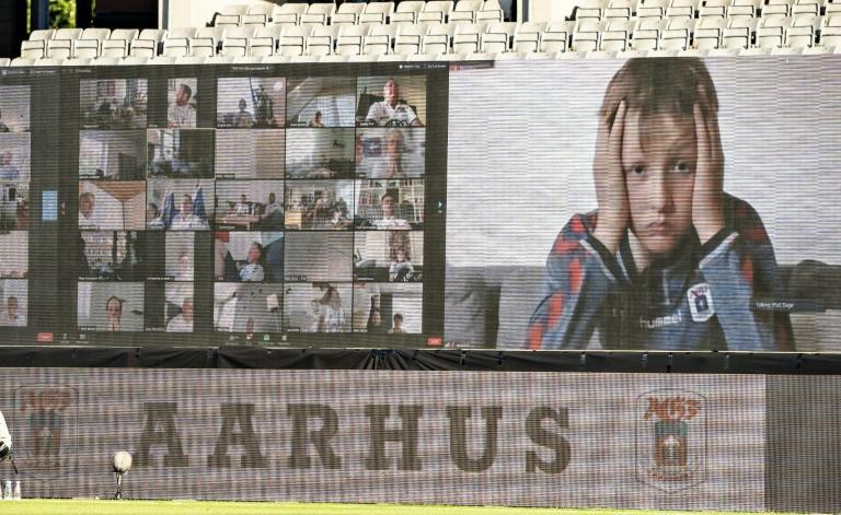 Fans are streamed live on to screens in Aarhus, Denmark (AFP Photo/Henning Bagger)