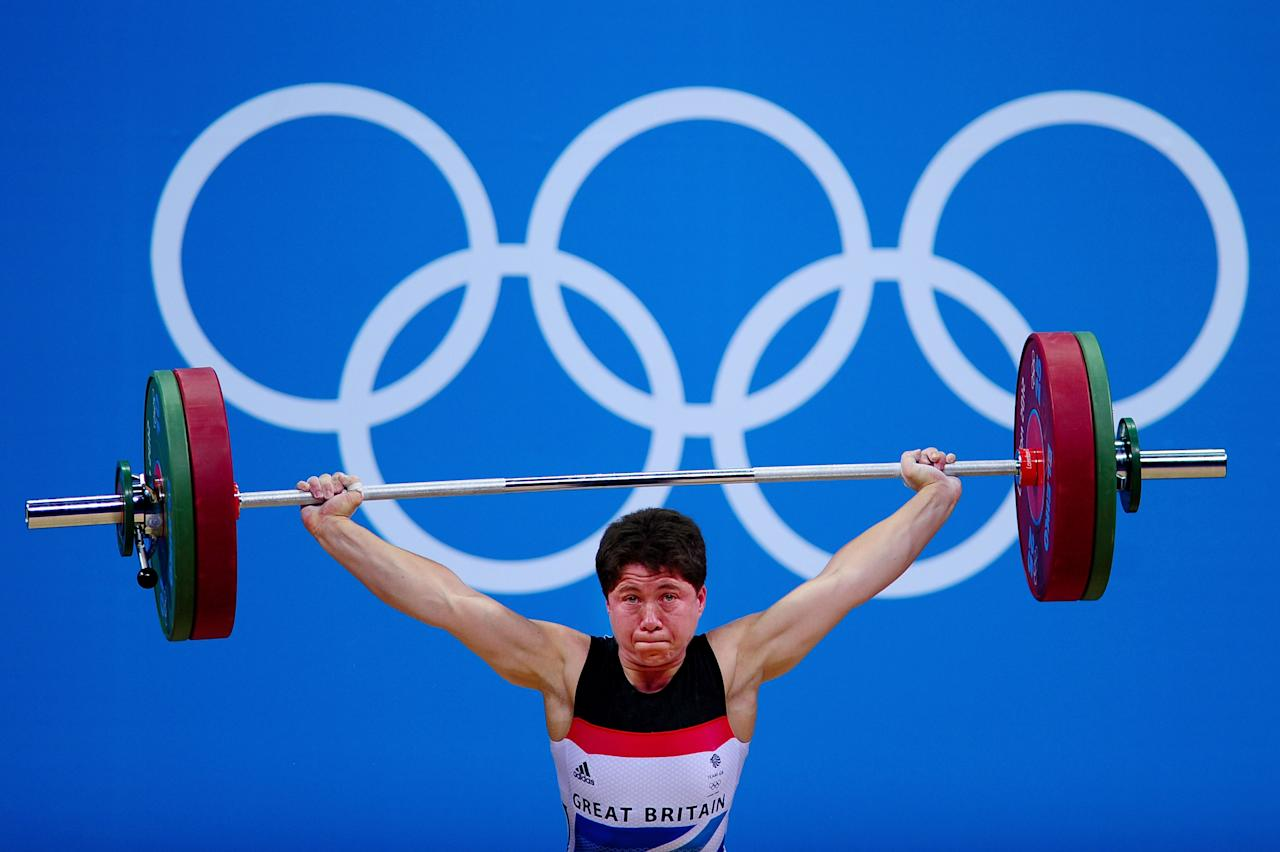LONDON, ENGLAND - AUGUST 01:  Natasha Perdue of Great Britain competes in the Women's 69kg Weightlifting on Day 5 of the London 2012 Olympic Games at  ExCeL on August 1, 2012 in London, England.  (Photo by Laurence Griffiths/Getty Images)